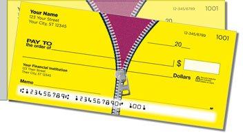 Zipper Side Tear Personalized Checks